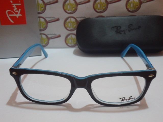 8eb55abb7b093 Armação Oculos De Grau Rb5285 Wayfarer Preto E Azul Ray-ban - R  97 ...