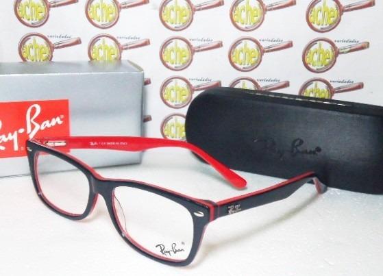f4f64ee61197f armação oculos grau rb5228 wayfarer preto e vermelho ray ban · armação  oculos ray ban