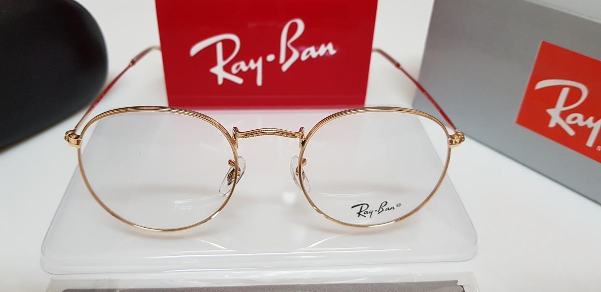 fc76abeba Armação Óculos Ray-ban Grau Round Rb3447 Dourado - R$ 160,00 em ...