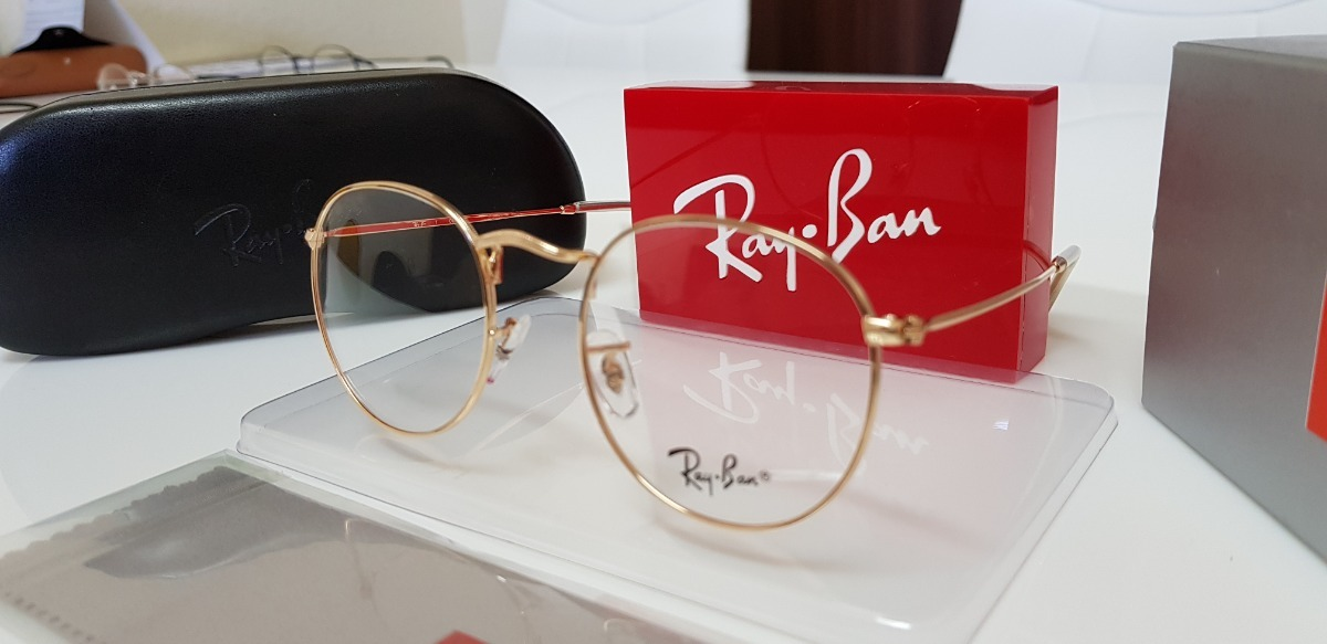 f8ab0b4123079 armação óculos ray-ban grau round rb3447 dourado. Carregando zoom.