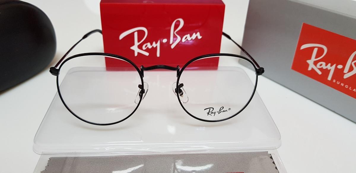 bcbd1f726 armação óculos ray-ban grau round rb3447 preto brilhante. Carregando zoom.