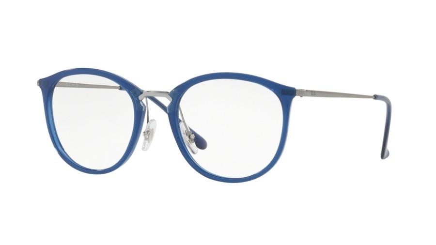 f8e1ebbd8 armação óculos ray-ban rb7140 5853 original azul redondo. Carregando zoom.