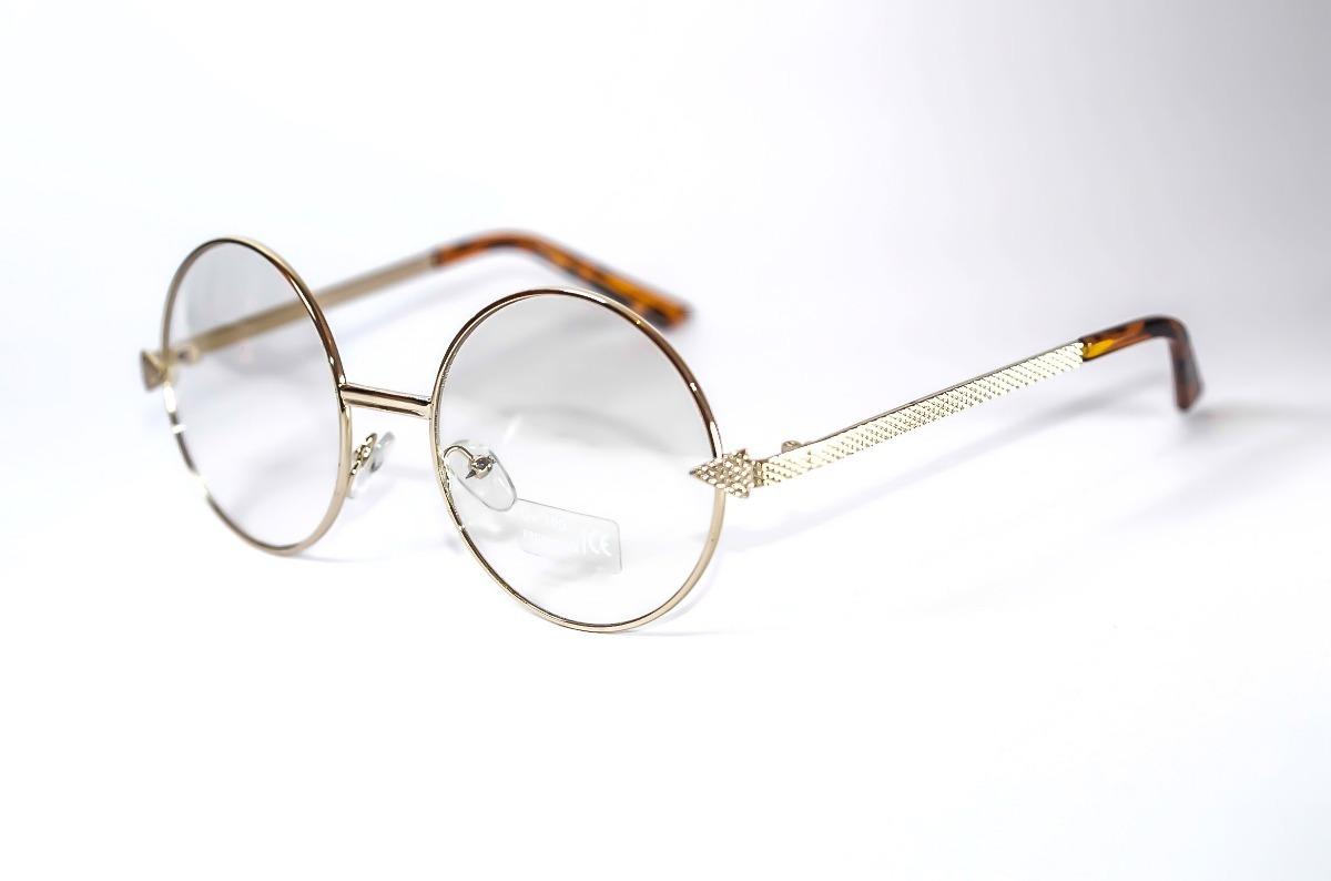 8575497d973a4 armação óculos redondo feminino masculino dourado grande. Carregando zoom.