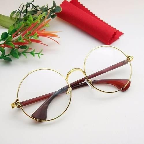 Armação Óculos Redondo Metal Fashion Dourado Retrô - R  79,99 em ... af92bd9abd
