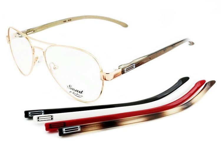 cf464e96bef02 Armação Óculos Smart Troca Hastes Aviador Dourado - R  199,00 em ...