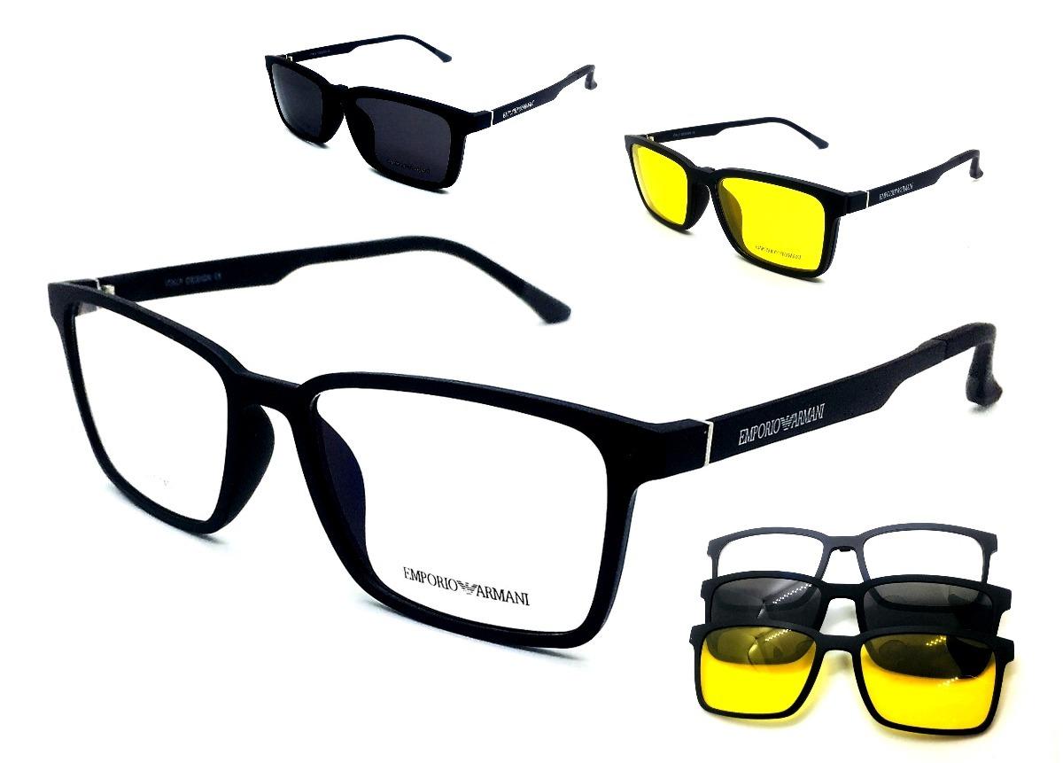 3dc6365f0944f armação óculos sol e grau e solar masculino ea5515 3 clip on. Carregando  zoom.