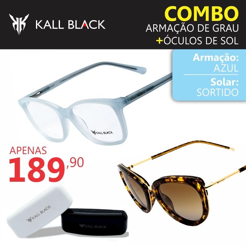 7ddd2e2bc Armação + Óculos Sol Kallblack Feminino Barato Kl-jc6380c3 - R$ 189 ...