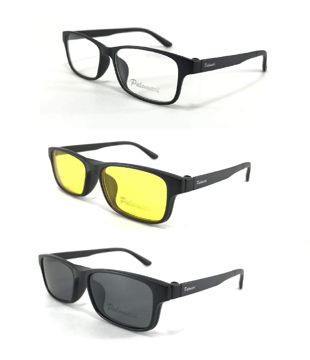 armação óculos sol p grau clip on 3x1 polarizado c  trava 02. Carregando  zoom. e152830361