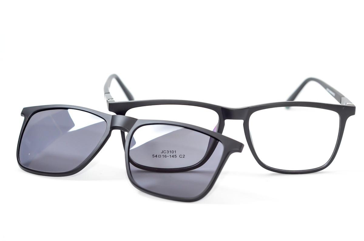 armação óculos sol preto masculino feminino clip on clipon. Carregando zoom. 0c589a181b