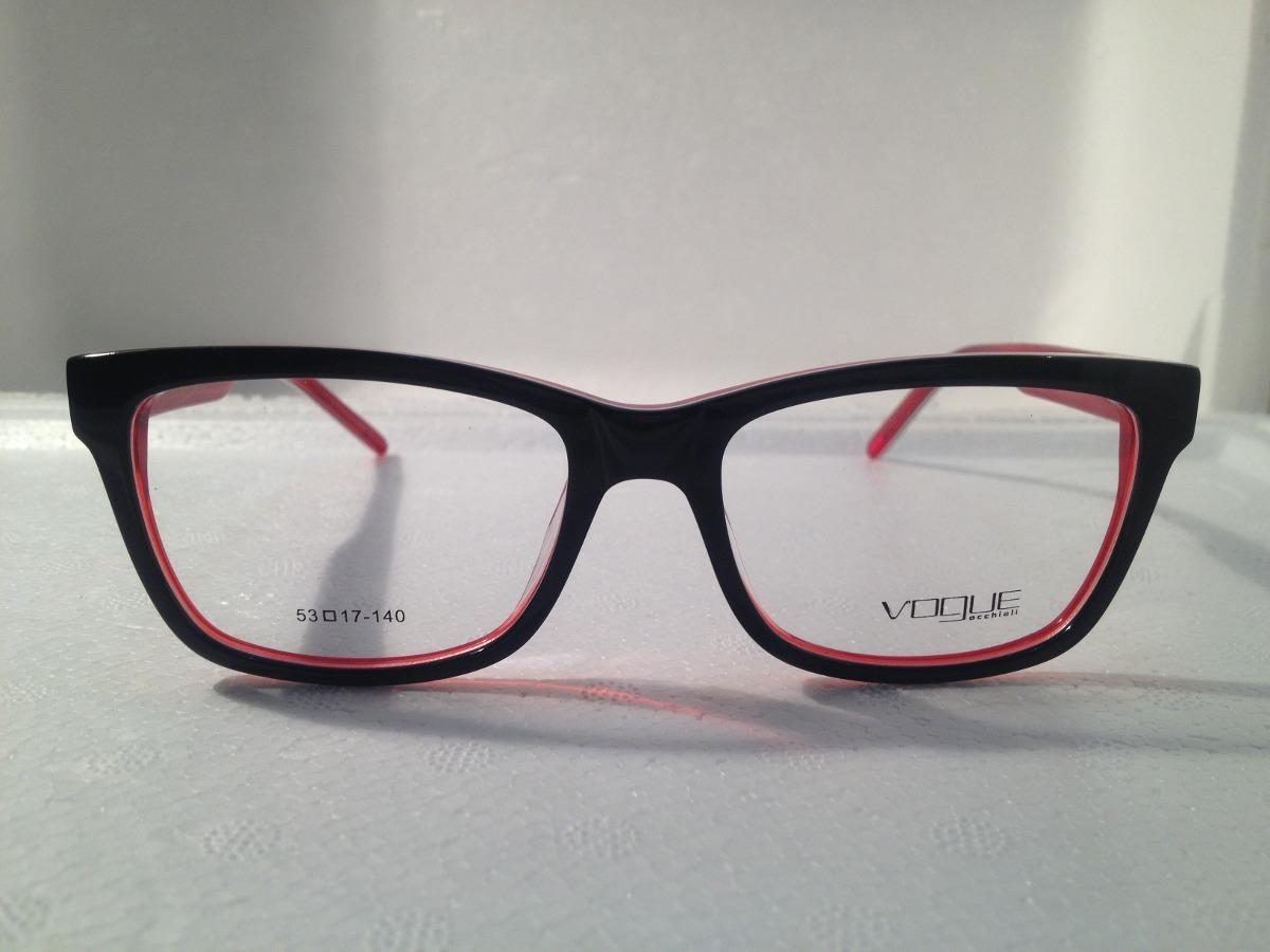 d0b5ae5b82c96 Armação De Óculos Vogue Acetato Preto Com Vermelho - R  159
