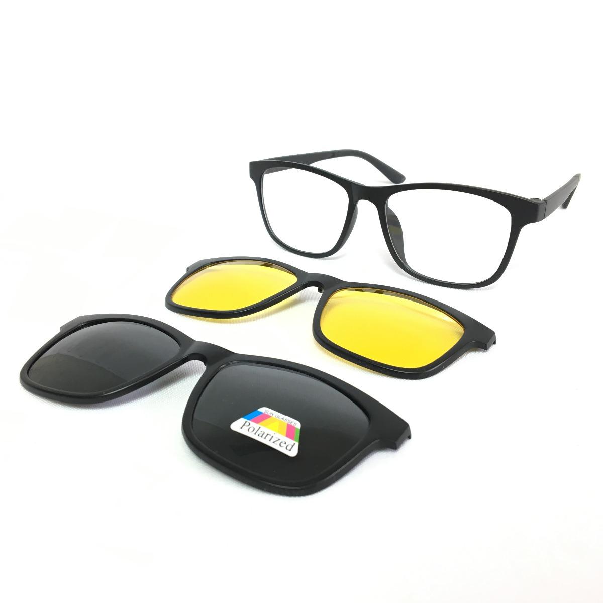 armação p  grau óculos de sol clip on 3 em 1 polarizado sol. Carregando  zoom. 1792ecb944