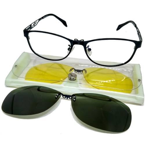Armação P  Grau Óculos Em Metal Clip On 3 Em 1 Polarizado - R  120 ... befc1ae2a3