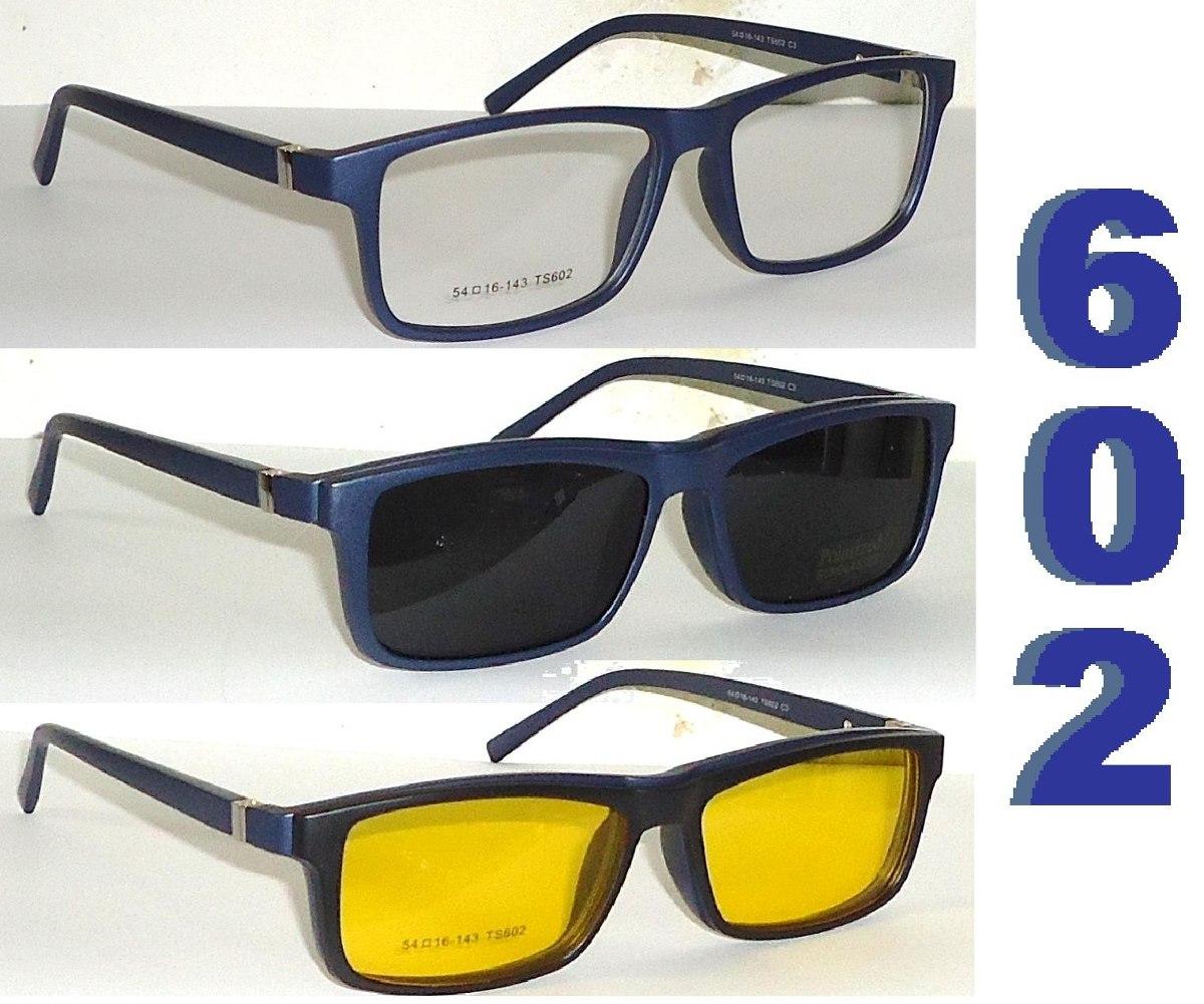 d79599b56d938 Armação P  Óculos De Grau Com Molas Acetato + 2 Clip-on  s - R  149 ...
