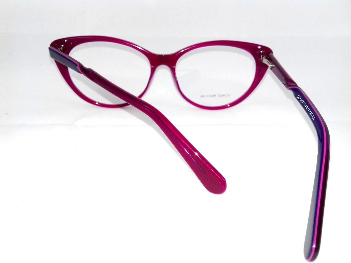 1fc99b309d0bb armação p  óculos de grau feminino gatinho roxo italy design. Carregando  zoom.