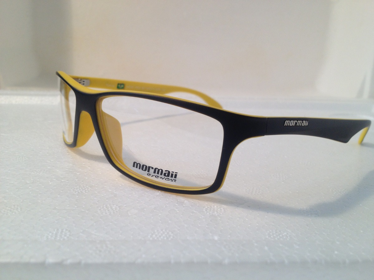 5d7187b737489 armação p  óculos de grau mormaii terral preto com amarelo. Carregando zoom.