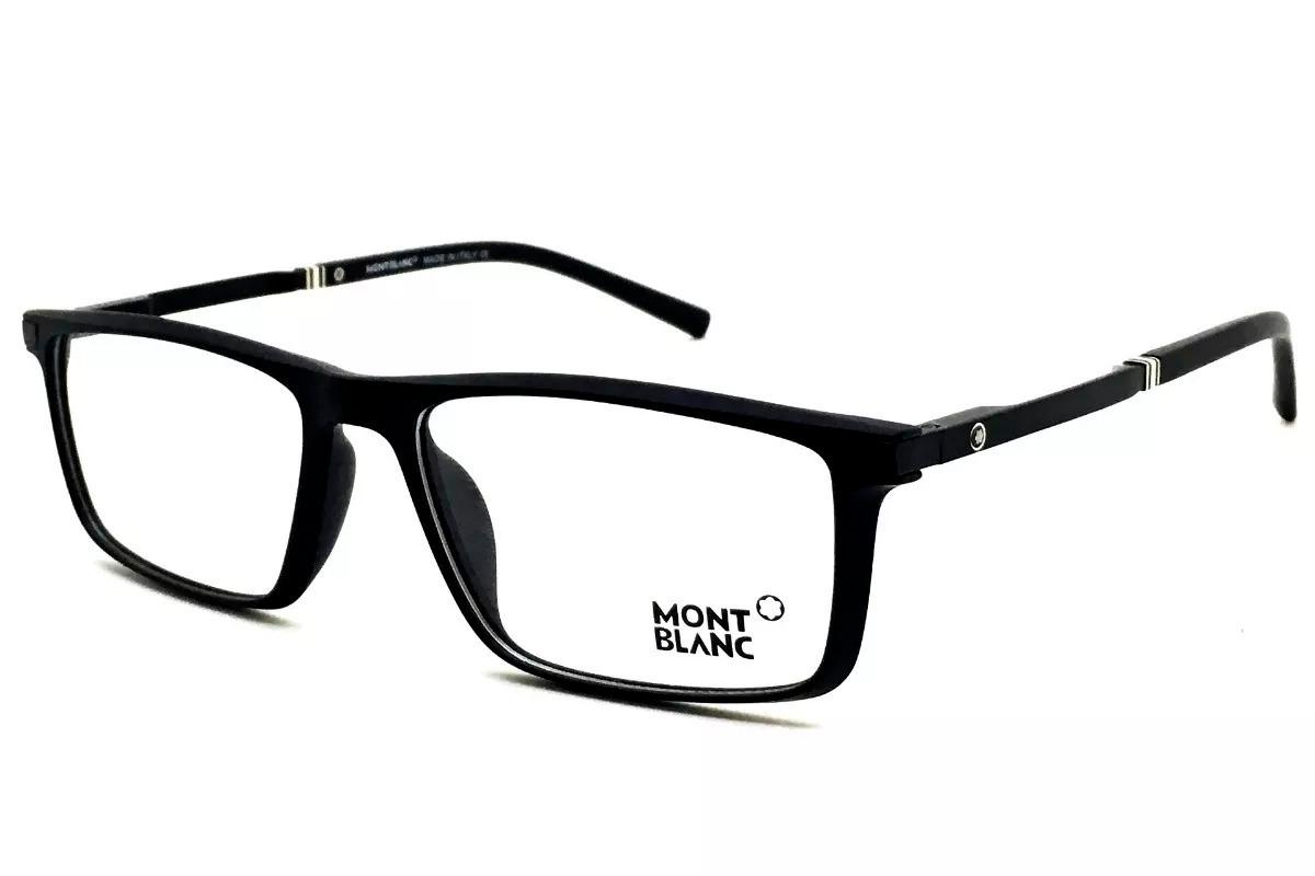 79f5a3699e1ed Armação P  Óculos Grau Masculino Mont Blanc 8282 Preto Fosco - R  98 ...