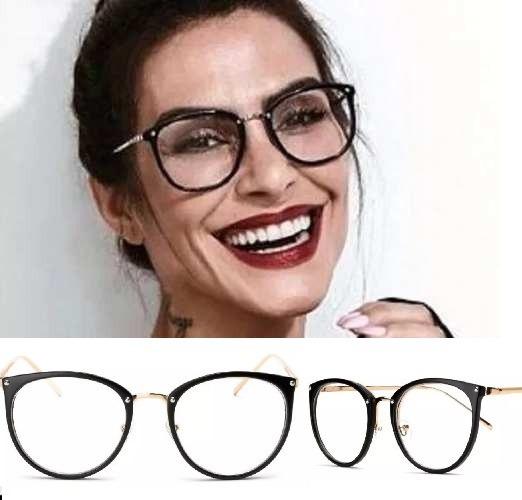 508efdbeef35f Armação Para Grau Feminino Oculos Em Acetato Geek Vintage - R  38,79 ...