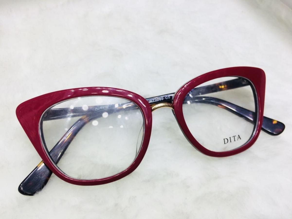 132e6b66fc5fb Armação Para Grau Óculos Gatinho Vermelho E Onça Dito -dt103 - R ...