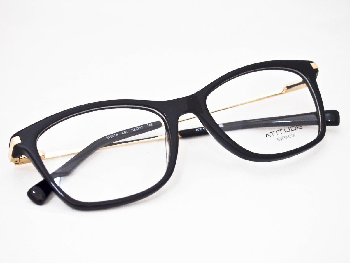 ddad76f7ce08b armação para óculos atitude at6176 preto e dourado. Carregando zoom.