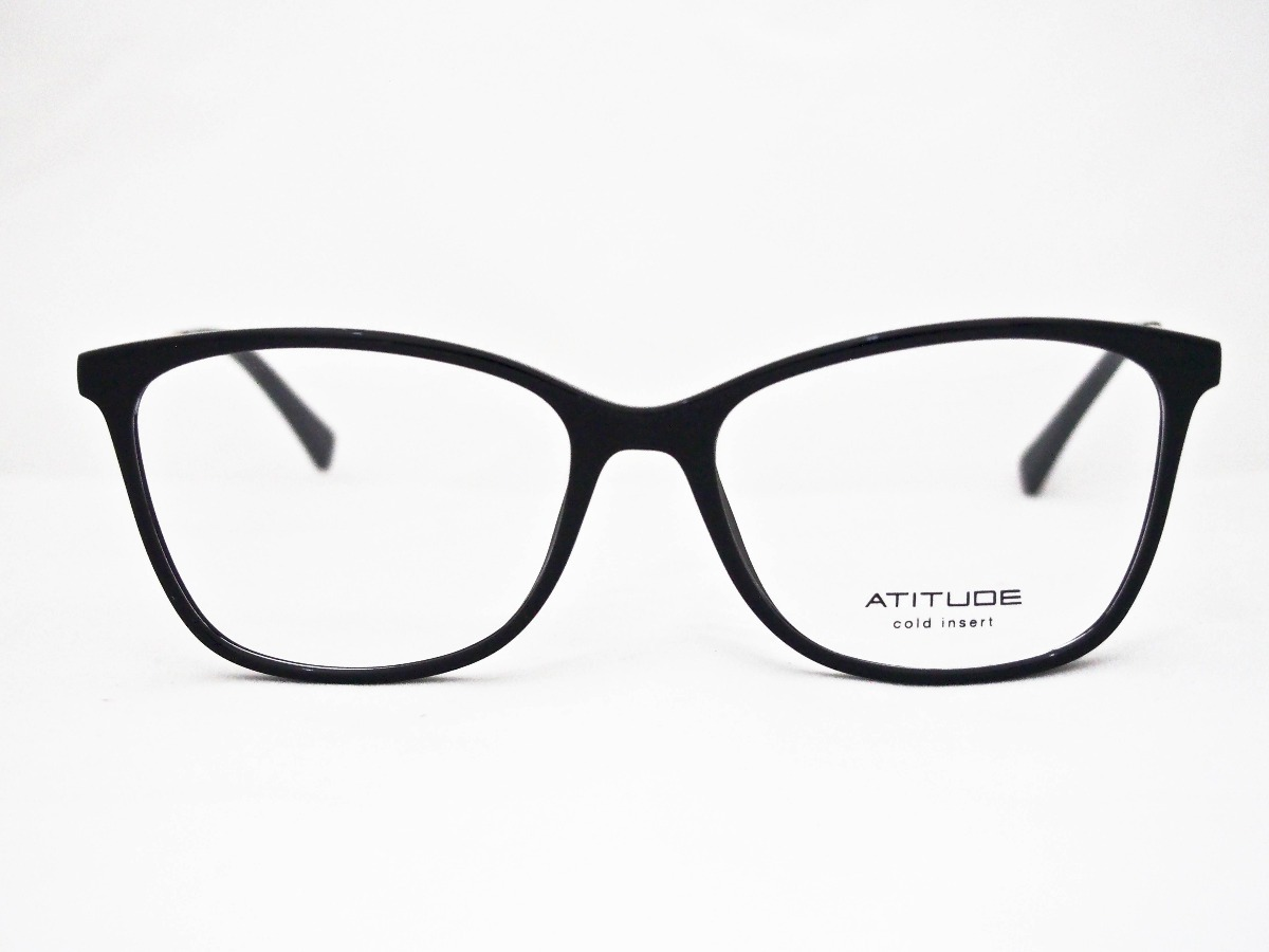dcf76aae1fae4 Armação Para Óculos Atitude Feminino At4099 Preto E Dourado - R  170 ...