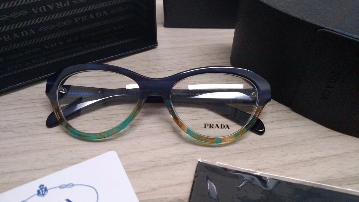 f7844df79dd50 Armação Para Óculos De Grau Acetato Prada Vpr25 Azul Marinho - R ...