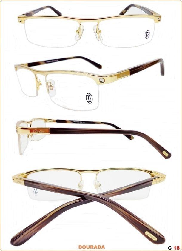 d68e6ecc869ff armação para oculos de grau cartier acetato meio aro gold. Carregando zoom.