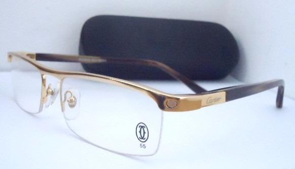 Armação Para Oculos De Grau Cartier Acetato Meio Aro Gold - R  119,99 em  Mercado Livre c765dadc61