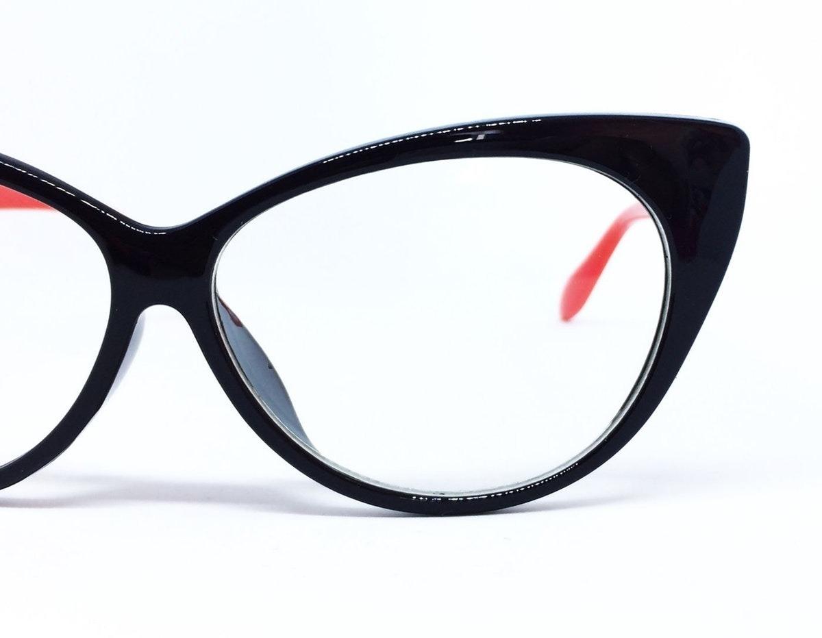 84dc8c7084085 Armação Para Óculos De Grau Com Formato De Gatinho - Preto - R  41 ...