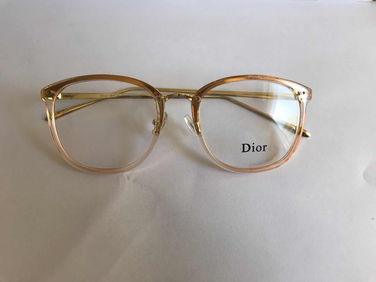 16646570defbe Armação Para Óculos De Grau Dior Quadrado Dourado Feminino - R  120 ...
