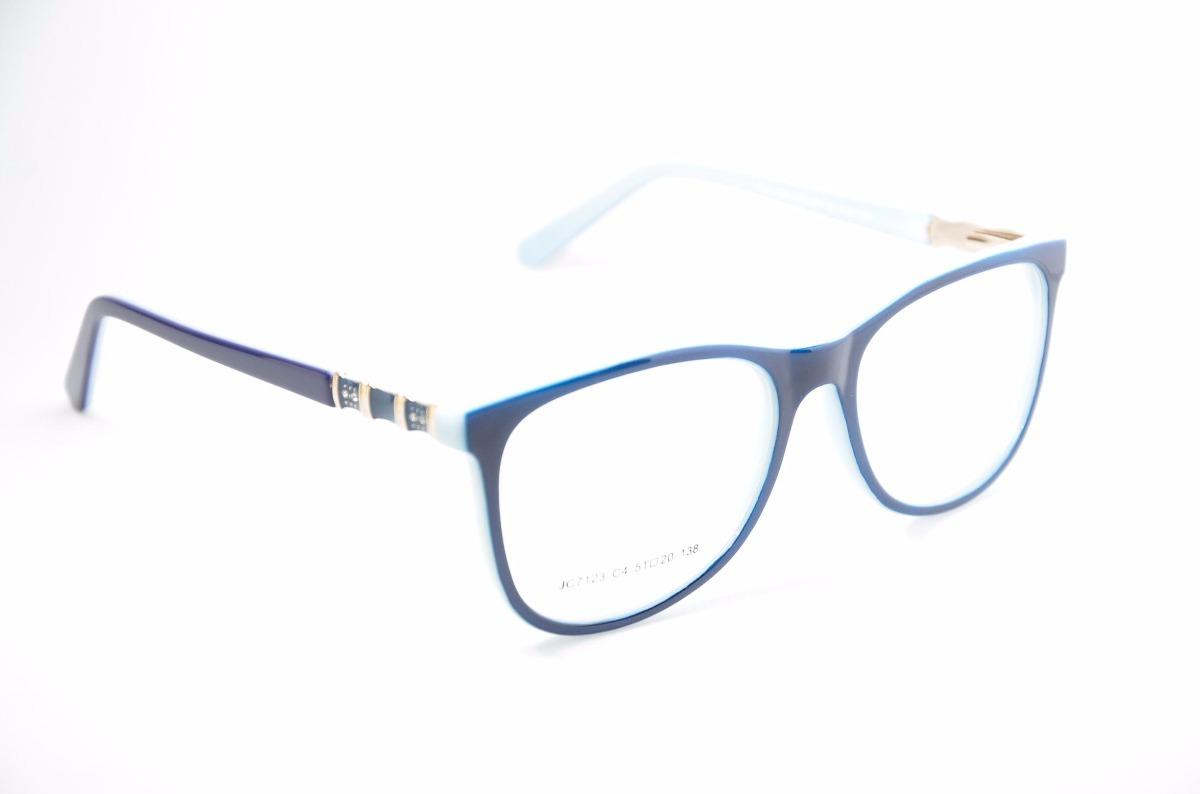 d3249ff0b armação para óculos de grau feminino azul escuro jc7123. Carregando zoom.
