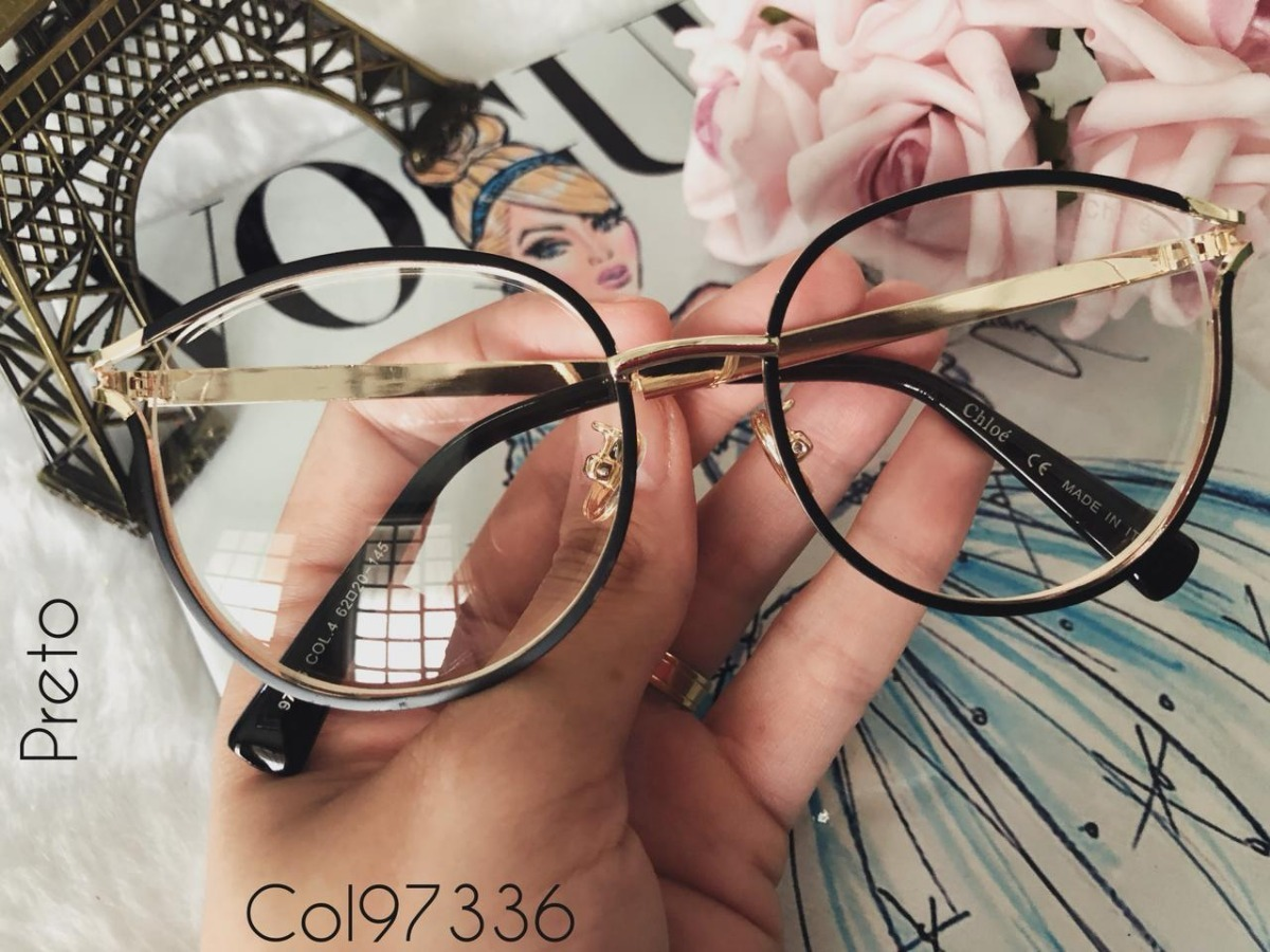 6714b74012df2 armação para óculos de grau feminino chloé preta sem grau. Carregando zoom.