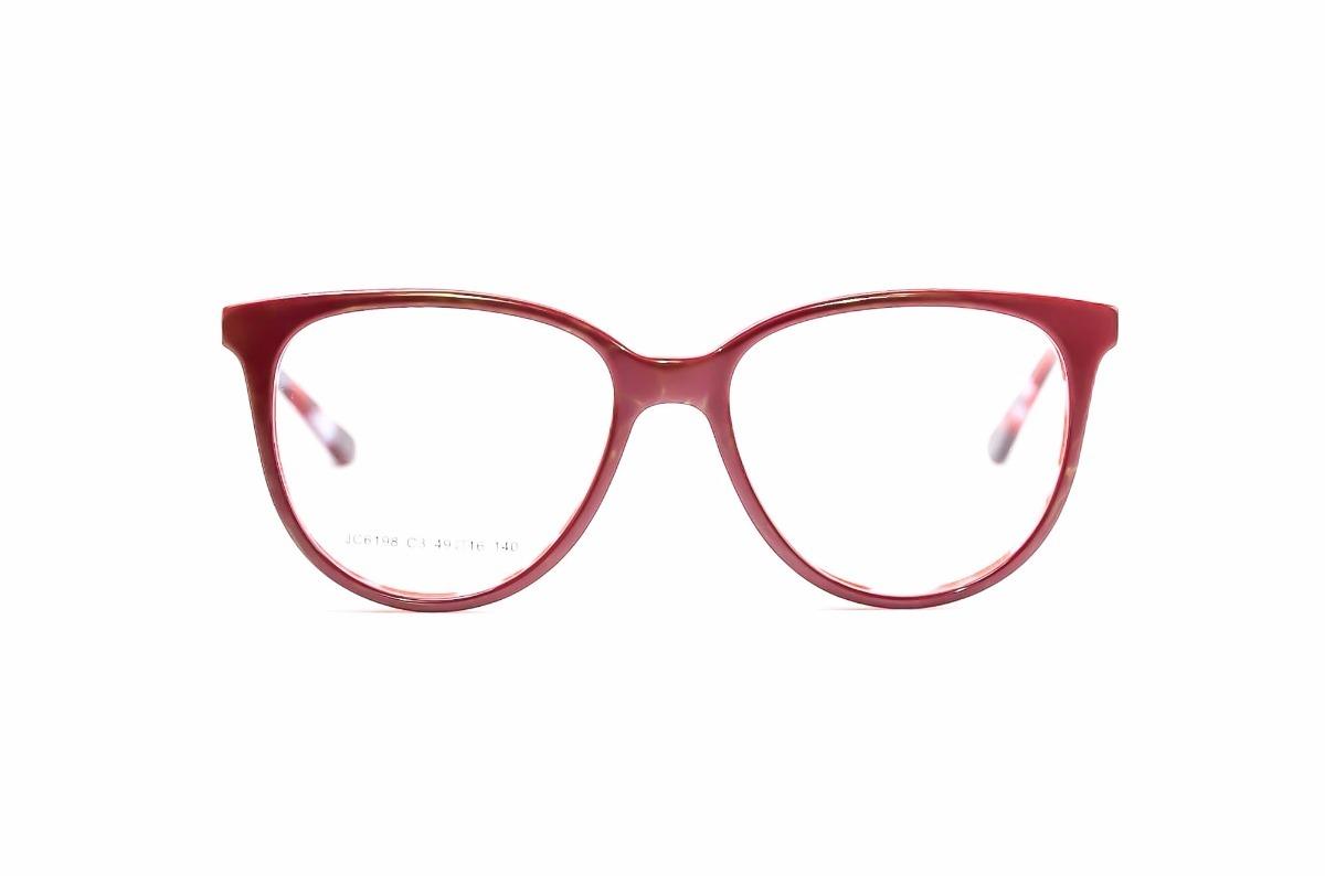 933895aec02c4 armação para óculos de grau feminino redondo vermelho jc6198. Carregando  zoom.