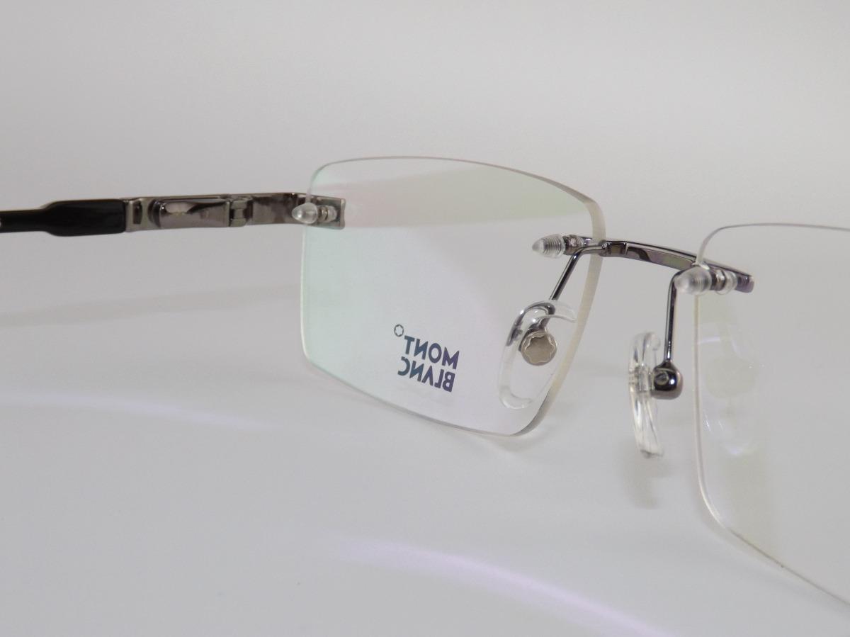 99ee2ae71d42a armação para óculos de grau sem aro mont blanc mb 692 cinza. Carregando  zoom.