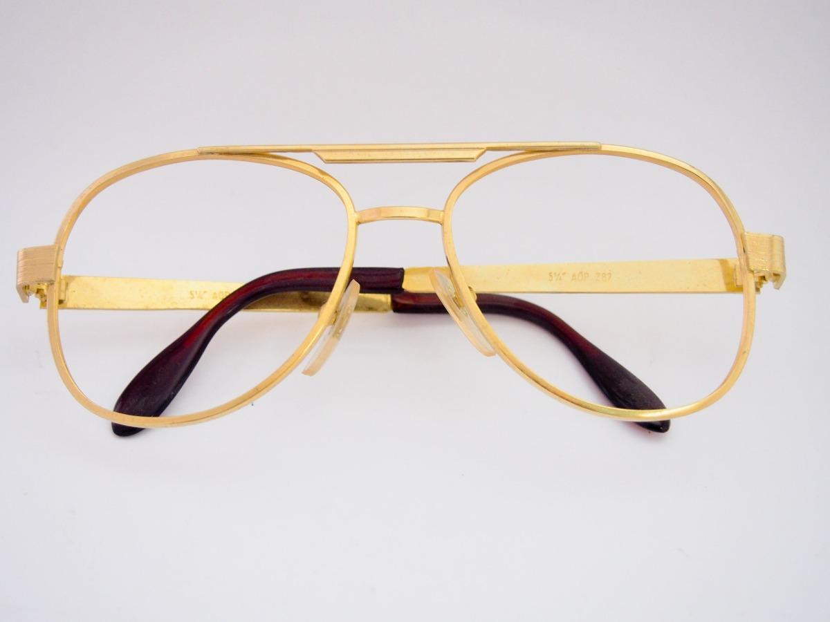5a842288fdd0e armação para óculos metal dourada estilo aviador grande. Carregando zoom.