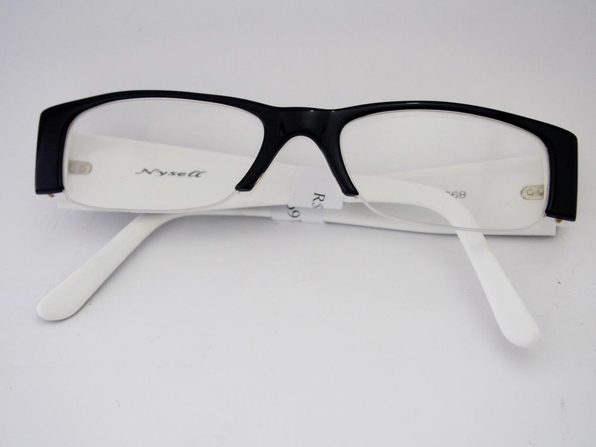 de991d14ec939 armação para óculos nysell acetato preta e branca fem fn980. Carregando zoom .