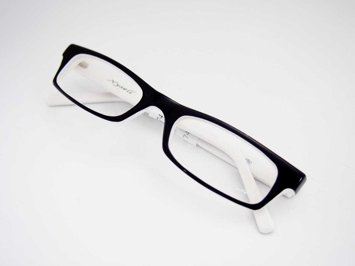 432e61fa8f69b armação para óculos nysell acetato retangular preto branco. Carregando zoom.