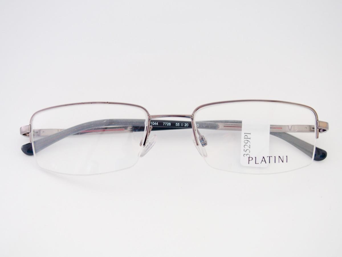 a8a258657bbad armação para óculos platini metal retangular grafite nylon. Carregando zoom.