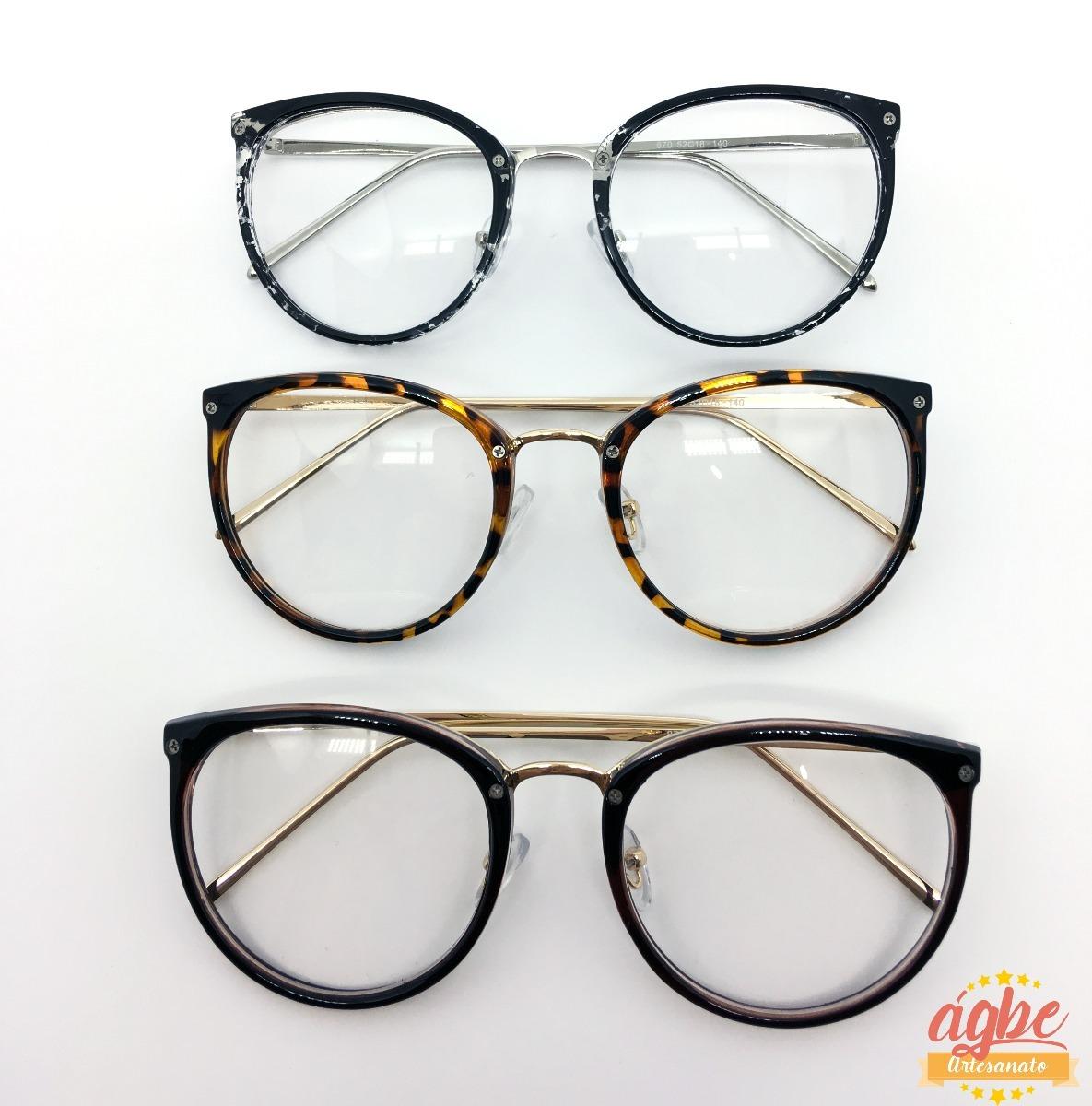 armação p grau óculos redondo vintage feminino varias cores. Carregando  zoom. 7c1039f374