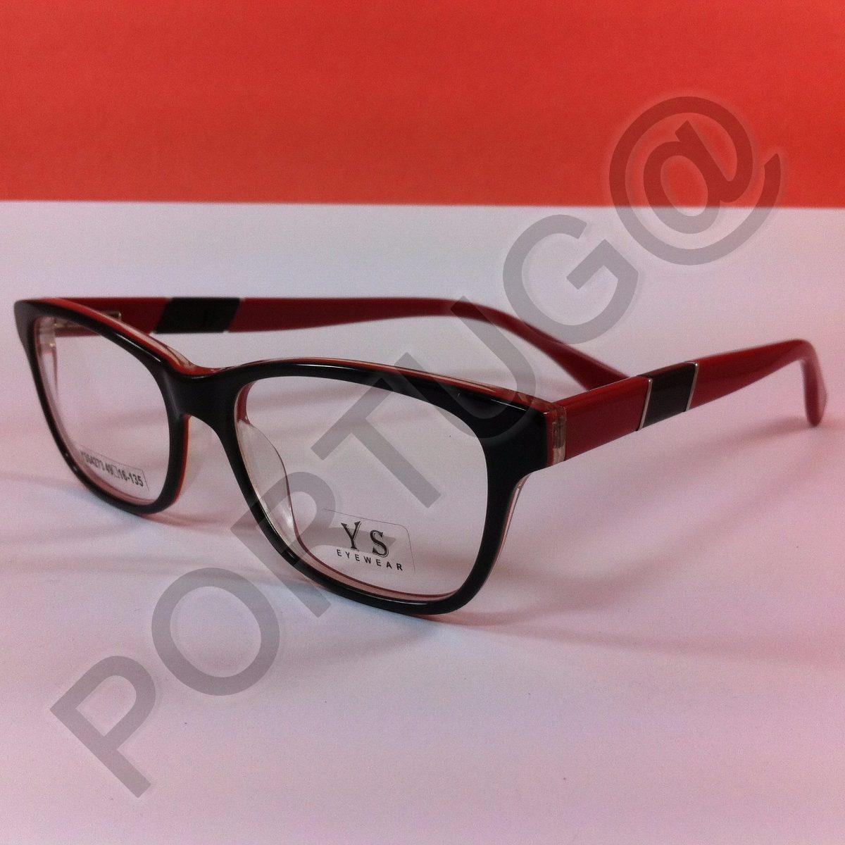 ae9e3947a armação preta c/ vermelho infantil criança óculos lente grau. Carregando  zoom.