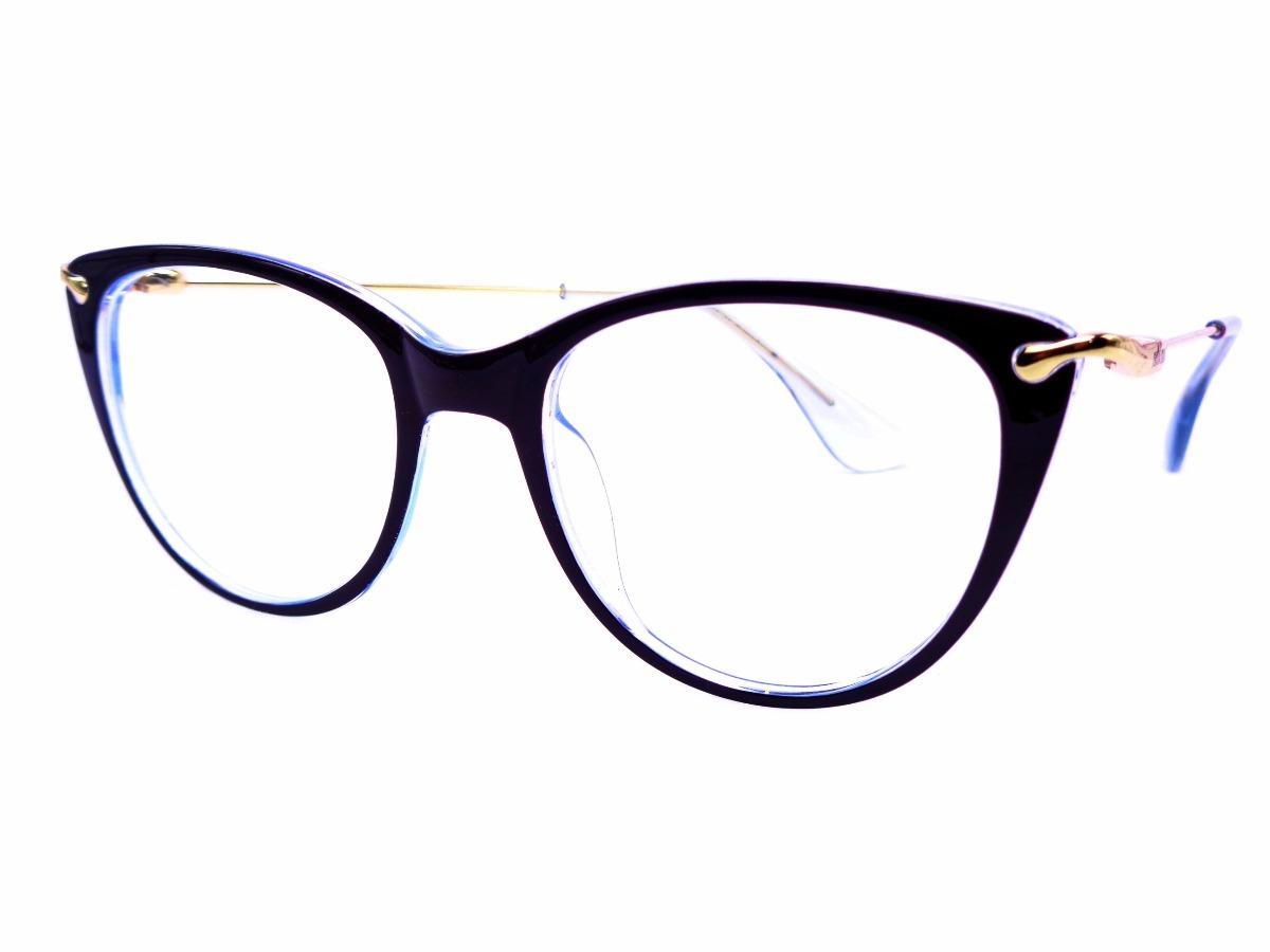 Armação Preta Com Azul Gatinha Óculos Lentes Grau Mm58589 - R  40,00 ... f84a3ac31a