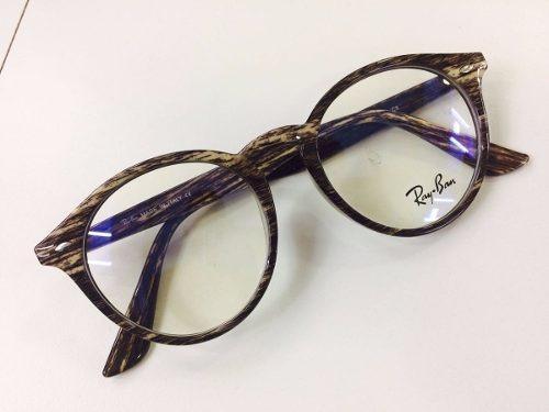 920ede8004d34 Armação Redondo Ray Ban Oculos Em Acetato Cor Madeira - R  139