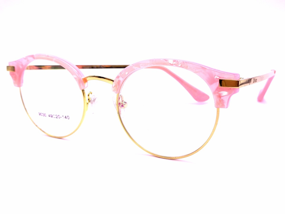 armação rosa c  dourada feminina óculos lentes sem grau 9030. Carregando  zoom. d83aac5e41