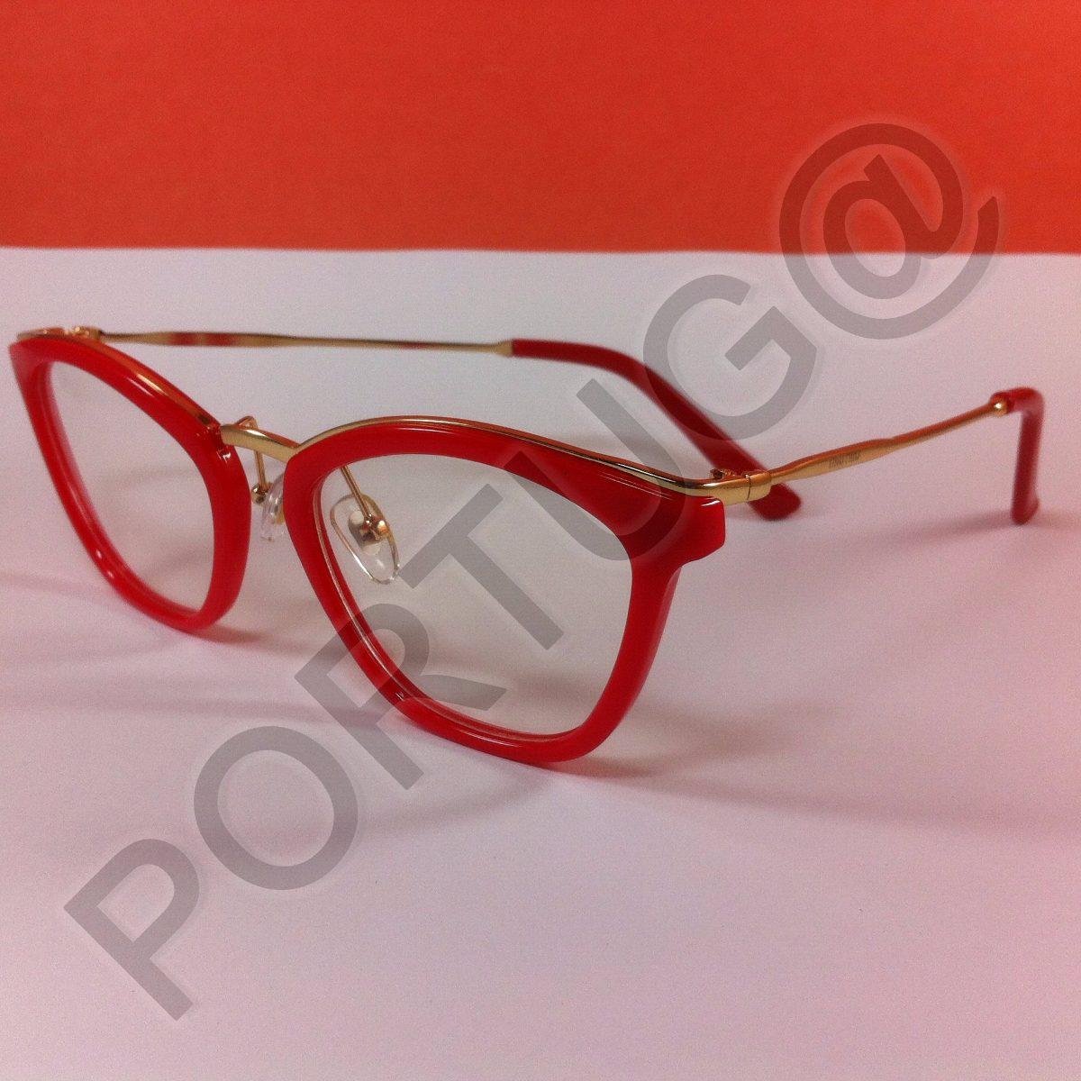 a5a493ec5a71e armação vermelha dourada feminina mulher óculos lentes grau. Carregando  zoom.