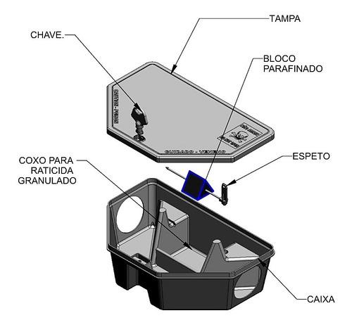 armadilha p/ raticida e veneno d rato - 8 porta iscas