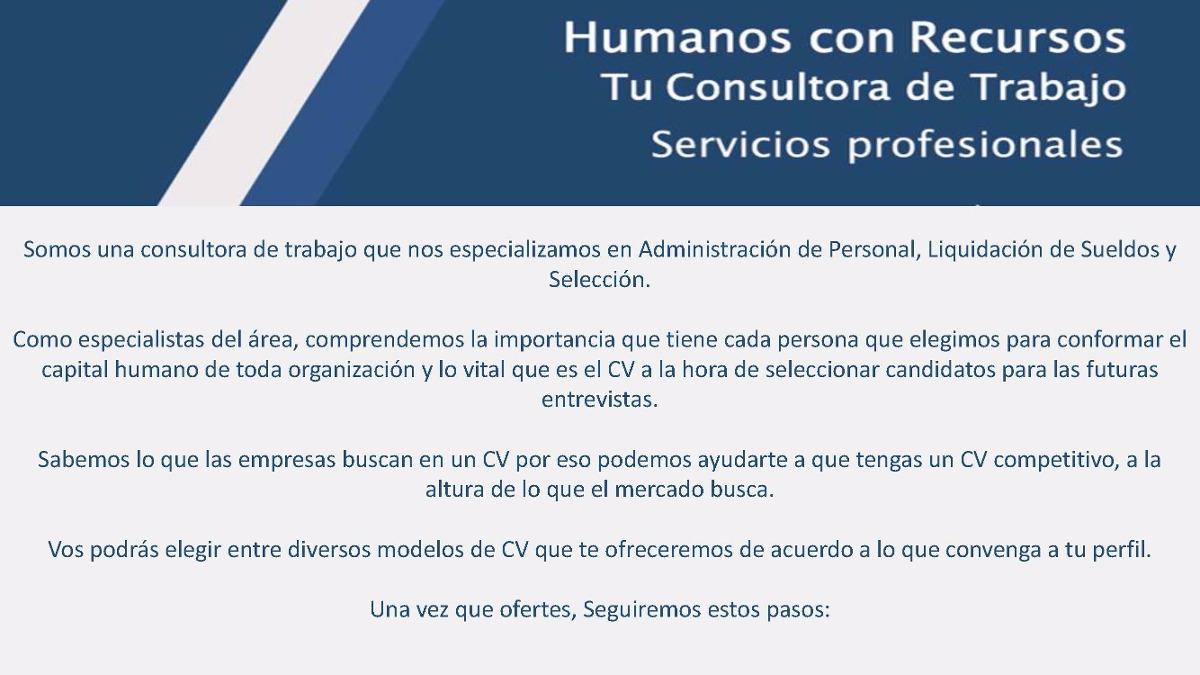 Armado De Curriculum Vitae + Carta De Presentación - $ 300,00 en ...