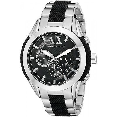 090b5635fa5d Armani Exchange Ax1214 Silver Dial Black Silicone Chronogra ...