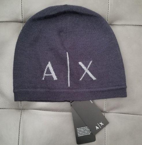 ca50fd7f927 Armani Exchange Azul Marino Classic Knit Ax Logo Beanie Hat ...