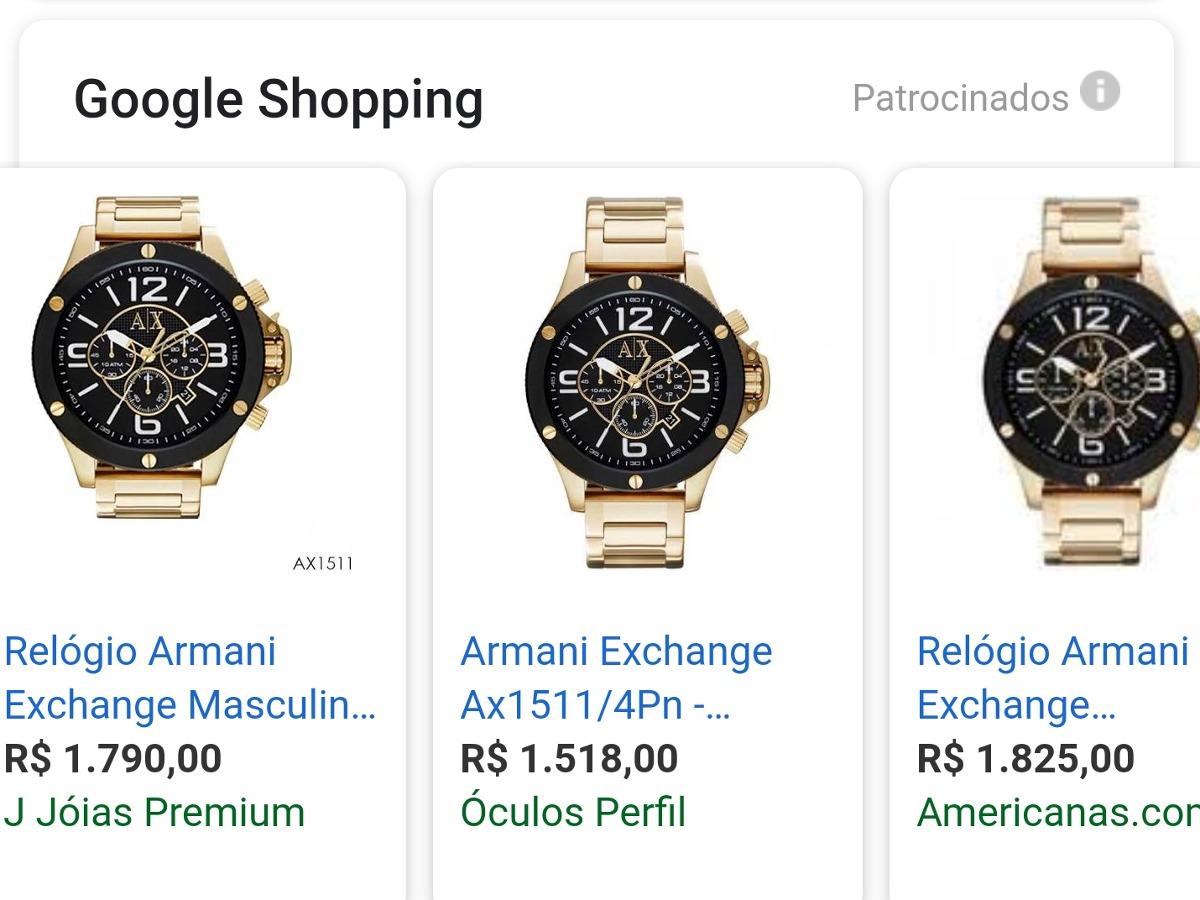 6d9f4b54966 Relógio Masculino Armani Exchange Ax1511 Preto E Dourado - R  1.000 ...