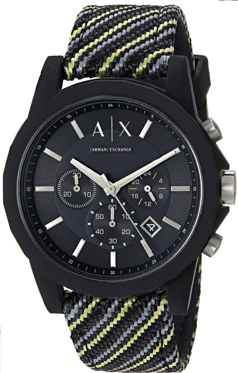 225cf0679141 armani exchange - reloj de tela negro y amarillo para hombr. Cargando zoom.
