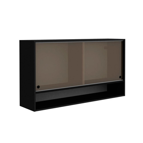 armário aéreo 2 portas de correr de vidro madesa glamy 25127